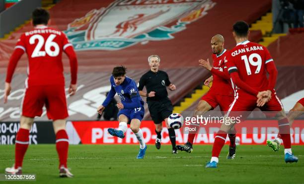 Mason Mount of Chelsea scores his team's first goal during the Premier League match between Liverpool and Chelsea at Anfield on March 04, 2021 in...
