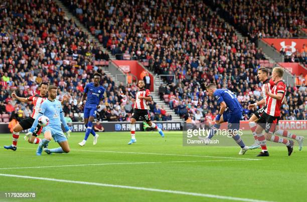 Mason Mount of Chelsea scores his team's second goal during the Premier League match between Southampton FC and Chelsea FC at St Mary's Stadium on...
