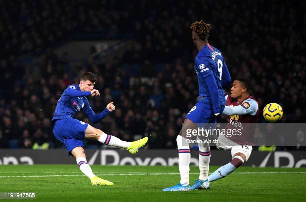 Mason Mount of Chelsea scores his team's second goal during the Premier League match between Chelsea FC and Aston Villa at Stamford Bridge on...