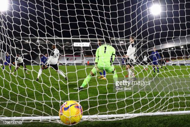 Mason Mount of Chelsea scores their side's first goal past Alphonse Areola of Fulham during the Premier League match between Fulham and Chelsea at...