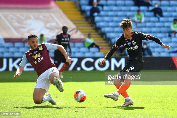 Mason Mount of Chelsea shoots wide during the Premier League match between Aston Villa and Chelsea FC at Villa Park on June 21 2020 in Birmingham...