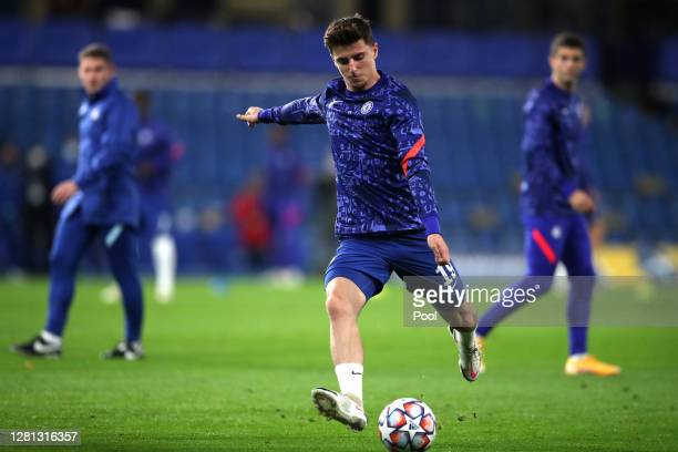 Mason Mount of Chelsea warms up prior to the UEFA Champions League Group E stage match between Chelsea FC and FC Sevilla at Stamford Bridge on...