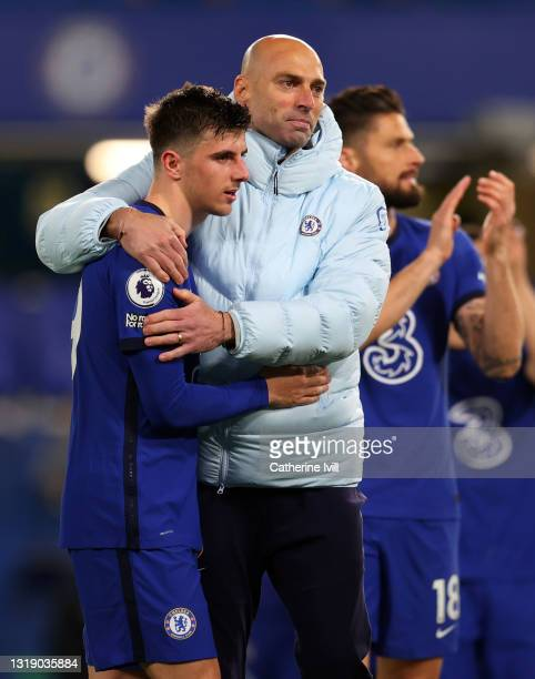 Mason Mount of Chelsea with Willy Caballero of Chelsea after the Premier League match between Chelsea and Leicester City at Stamford Bridge on May...