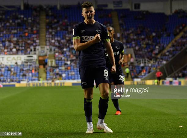 Mason Mount of Derby County celebrates after scoring his team's first goal during the Sky Bet Championship match between Reading and Derby County at...