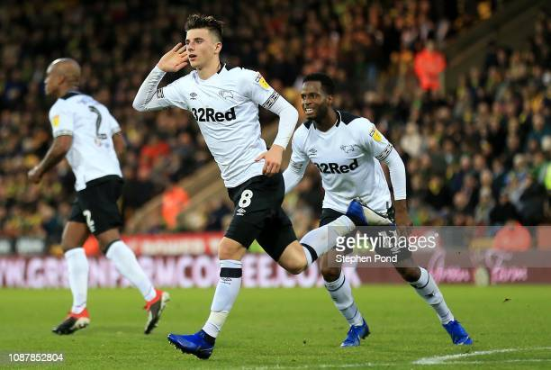 Mason Mount of Derby County celebrates scoring his sides second goal during the Sky Bet Championship match between Norwich City and Derby County at...