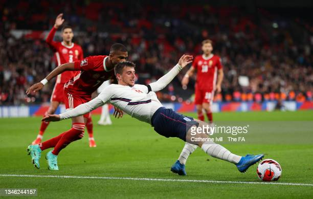 Mason Mount of England battles for possession with Loic Nego of Hungary during the 2022 FIFA World Cup Qualifier match between England and Hungary at...