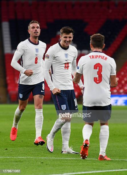 Mason Mount of England celebrates after he scores his sides 2nd goal during the UEFA Nations League group stage match between England and Belgium at...