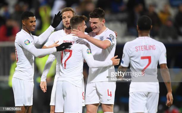 Mason Mount of England celebrates scoring his team's fourth goal with Harry Kane Marcus Rashford and Declan Rice during the UEFA Euro 2020 Qualifier...