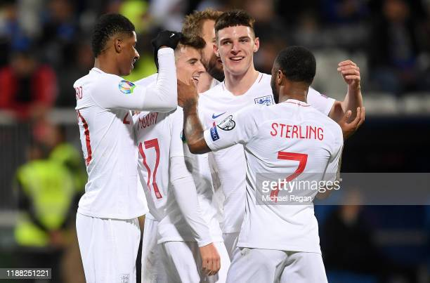 Mason Mount of England celebrates scoring his team's fourth goal with Raheem Sterling ,Marcus Rashford and Declan Rice during the UEFA Euro 2020...