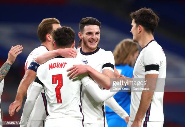 Mason Mount of England celebrates scoring his teams second goal during the UEFA Nations League group stage match between England and Iceland at...