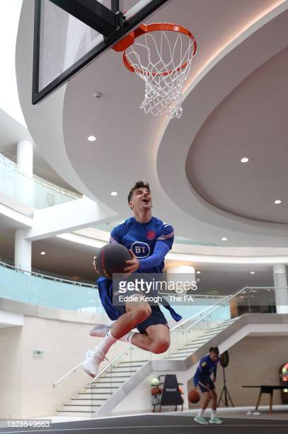 Mason Mount of England plays basketball during a recovery session at St George's Park on June 14, 2021 in Burton upon Trent, England.