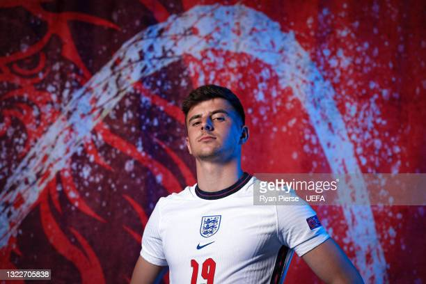 Mason Mount of England poses during the official UEFA Euro 2020 media access day at St George's Park Futsal Arena on June 08, 2021 in Burton upon...