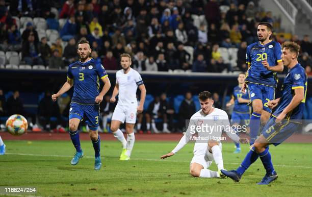 Mason Mount of England scores his team's fourth goal during the UEFA Euro 2020 Qualifier between Kosovo and England at the Pristina City Stadium on...