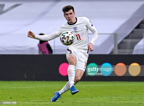 Mason Mount of England scores their side's second goal during the FIFA World Cup 2022 Qatar qualifying match between Albania and England at the Qemal...