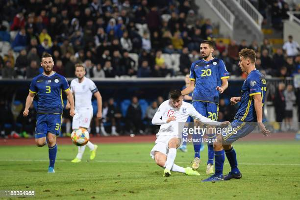 Mason Mount of England scores to make it 40 during the UEFA Euro 2020 Qualifier between Kosovo and England on November 17 2019 in Pristina Kosovo