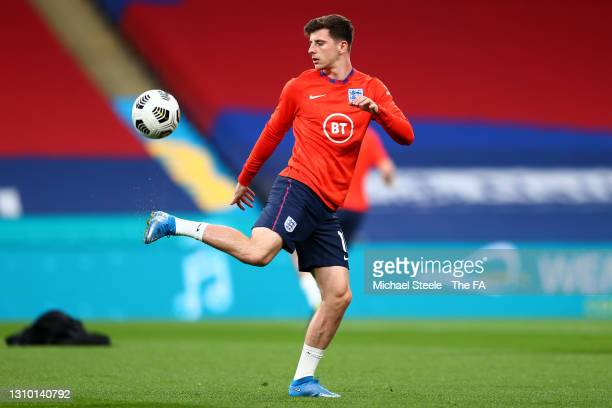 Mason Mount of England warms up prior to the FIFA World Cup 2022 Qatar qualifying match between England and Poland on March 31, 2021 at Wembley...