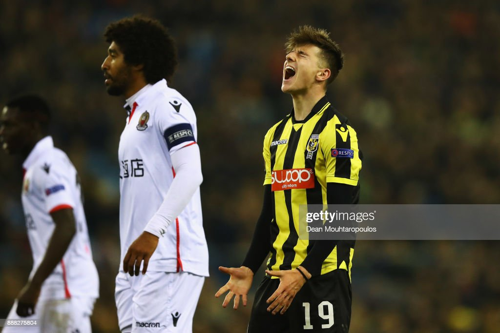 Mason Mount of Vitesse Arnhem reatcs to a missed chance on goal during the UEFA Europa League group K match between Vitesse and OGC Nice at on December 7, 2017 in Arnhem, Netherlands.