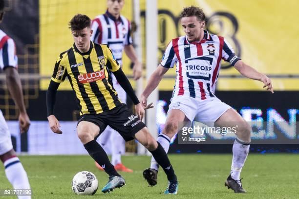 Mason Mount of Vitesse Ben Rienstra of Willem II during the Dutch Eredivisie match between Vitesse Arnhem and Willem II Tilburg at Gelredome on...