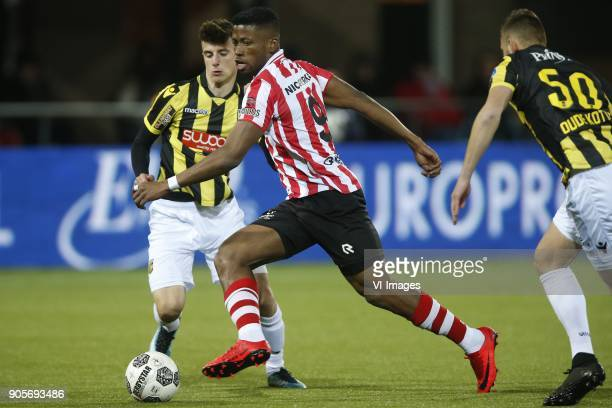 Mason Mount of Vitesse Fred Friday of Sparta Rotterdamm Thomas Oude Kotte of Vitesse during the Dutch Eredivisie match between Sparta Rotterdam and...