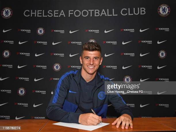 Mason Mount Signs a new five year contract at Chelsea at Stamford Bridge on July 14 2019 in London England