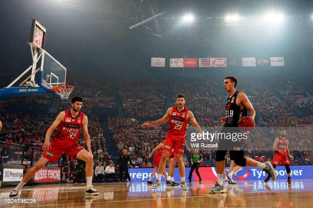 Mason Peatling of Melbourne United looks to pass the ball during game one of the NBL Grand Final Series between the Perth Wildcats and Melbourne...