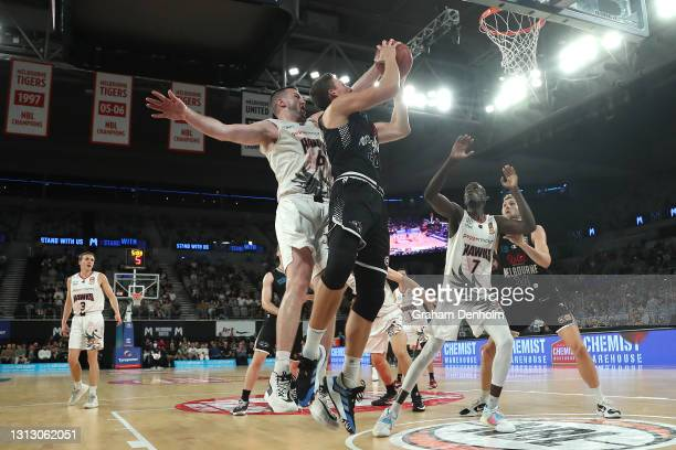 Mason Peatling of United drives at the basket during the round 14 NBL match between Melbourne United and the New Zealand Breakers at John Cain Arena,...