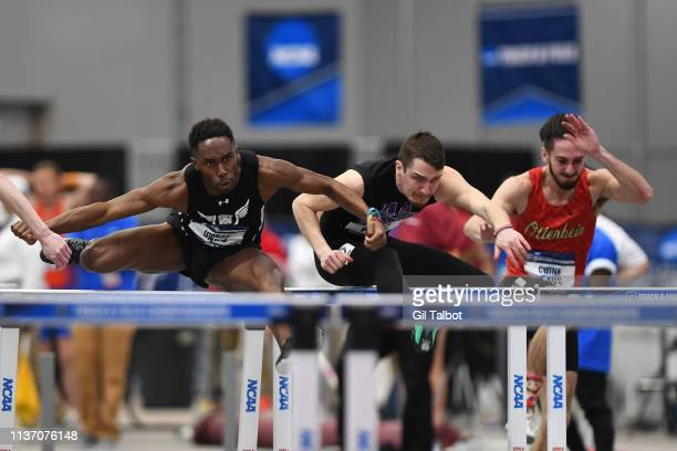 Mason Plant of Mount Union and Jordan Davis of Adrian compete in the 60 meter hurdles during the Division III Men's and Women's Indoor Track Field...