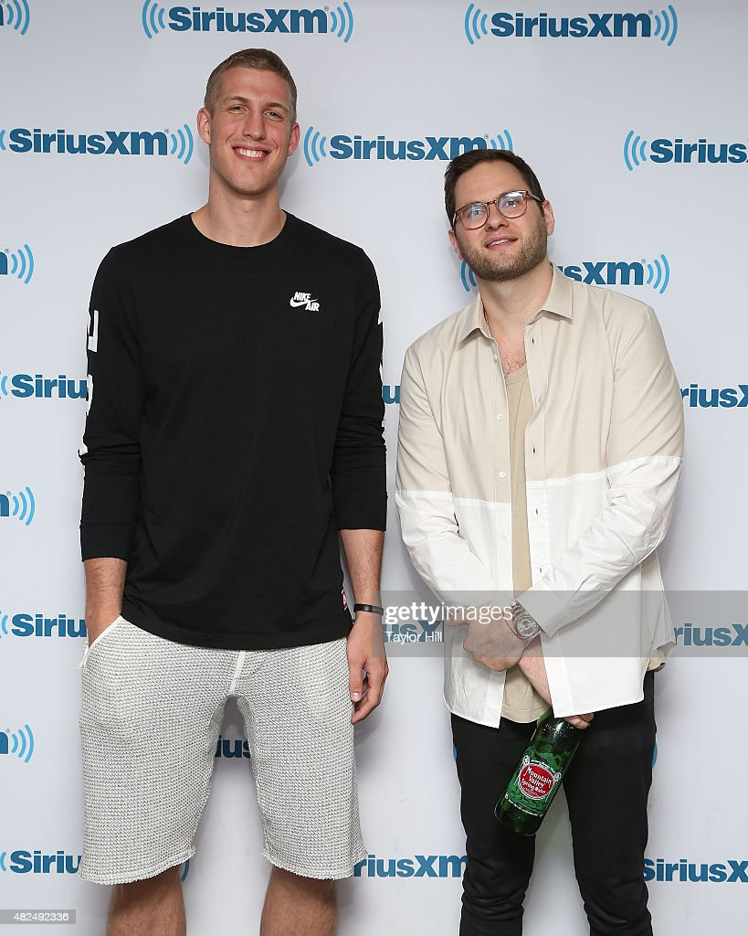 Mason Plumlee and Will Roush visit the SiriusXM Studios on July 30, 2015 in New York City.