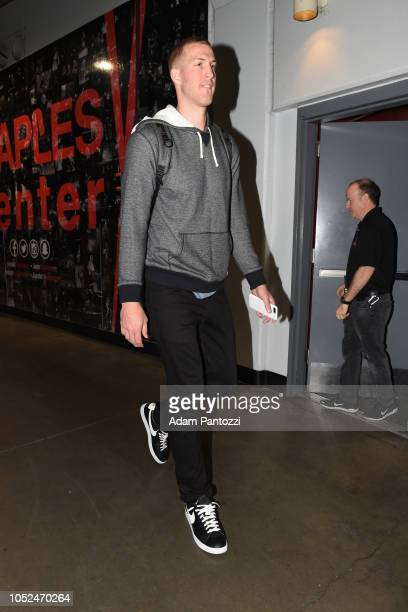 Mason Plumlee of the Denver Nuggets arrives to the arena before a game against the LA Clippers on October 17 2018 at Staples Center in Los Angeles...
