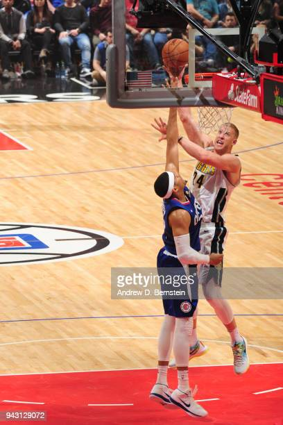 Mason Plumlee of the Denver Nuggets dunks against the LA Clippers on April 7 2018 at STAPLES Center in Los Angeles California NOTE TO USER User...