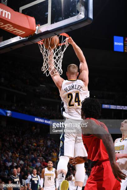 Mason Plumlee of the Denver Nuggets dunks the ball against the Portland Trail Blazers on APRIL 9 2018 at the Pepsi Center in Denver Colorado NOTE TO...
