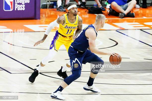 Mason Plumlee of the Denver Nuggets handles the ball against the Los Angeles Lakers on September 30 2018 at Valley View Casino Center in San Diego...