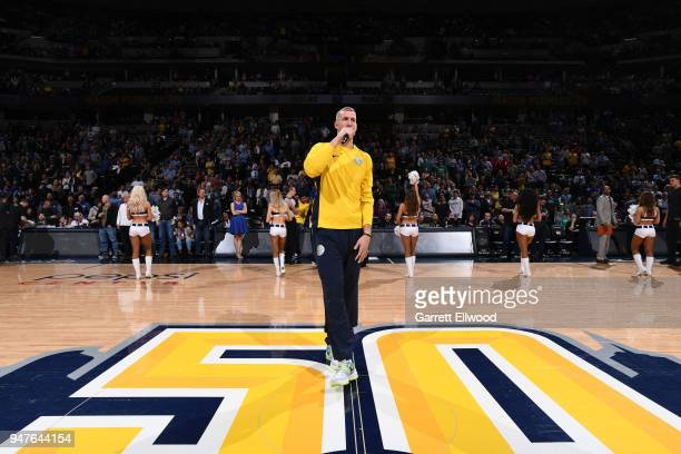 Mason Plumlee of the Denver Nuggets makes an announcement before the game against the Portland Trail Blazers on APRIL 9 2018 at the Pepsi Center in...