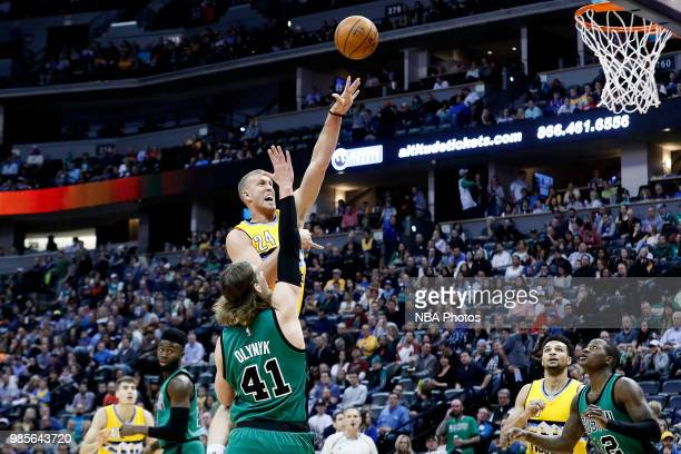Mason Plumlee of the Denver Nuggets shoots the ball during the game against the Boston Celtics on March 10 2017 at Pepsi Center in Denver Colorado...