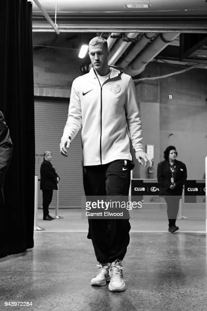 Mason Plumlee of the Denver Nuggets walks to the court before the game against the Portland Trail Blazers on APRIL 9 2018 at the Pepsi Center in...