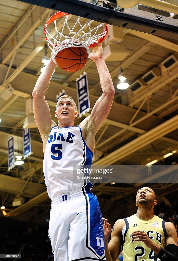 Mason Plumlee #5 of the Duke Blue Devils dunks over Kammeon Holsey #24 of the Georgia Tech Yellow Jackets during play at Cameron Indoor Stadium on January 17, 2013 in Durham, North Carolina. Duke won 73-57.