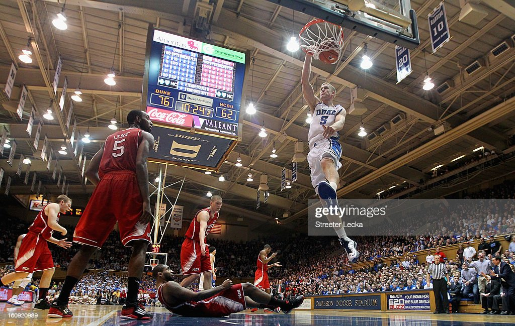 Mason Plumlee #5 of the Duke Blue Devils dunks the ball after a call during their game against the North Carolina State Wolfpack at Cameron Indoor Stadium on February 7, 2013 in Durham, North Carolina.
