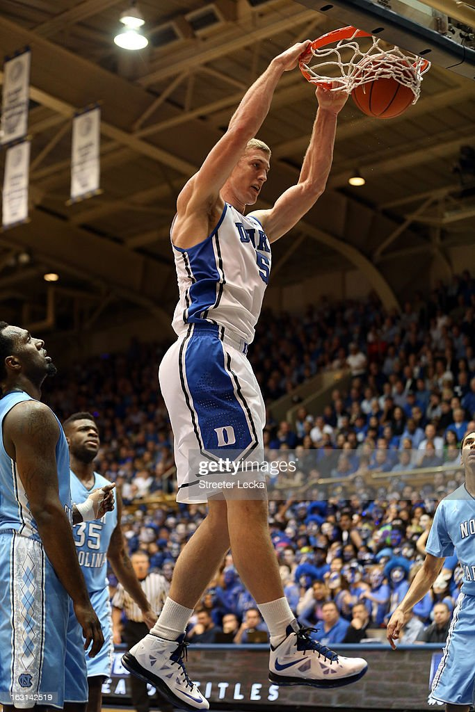 Mason Plumlee #5 of the Duke Blue Devils during their game at Cameron Indoor Stadium on February 13, 2013 in Durham, North Carolina.