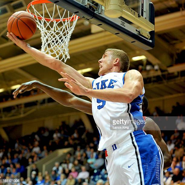 Mason Plumlee of the Duke Blue Devils goes to the hoop against the WinstonSalem State Rams at Cameron Indoor Stadium on November 1 2012 in Durham...