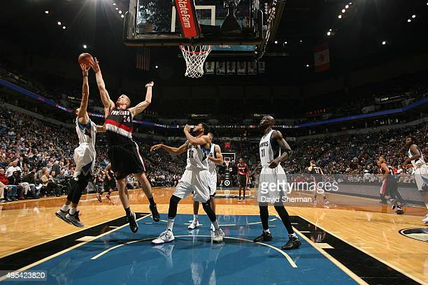 Mason Plumlee of the Portland Trail Blazers defends the basket against the Minnesota Timberwolves during the game on November 2 2015 at Target Center...