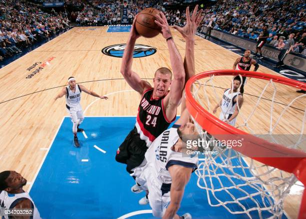 Mason Plumlee of the Portland Trail Blazers goes in for the lay up against the Dallas Mavericks on February 7 2017 at the American Airlines Center in...