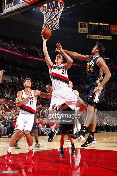 Mason Plumlee of the Portland Trail Blazers goes to the basket against the Utah Jazz on October 18 2015 at the Moda Center in Portland Oregon NOTE TO...