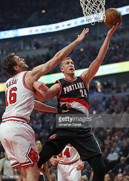 Mason Plumlee of the Portland Trail Blazers puts up a shot against Pau Gasol of the Chicago Bulls at the United Center on February 27, 2016 in...