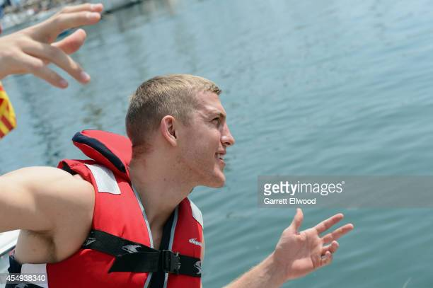 Mason Plumlee of the USA Basketball Men's National Team poses for a photo as he rides jet skis on September 7 2014 in Barcelona Spain NOTE TO USER...