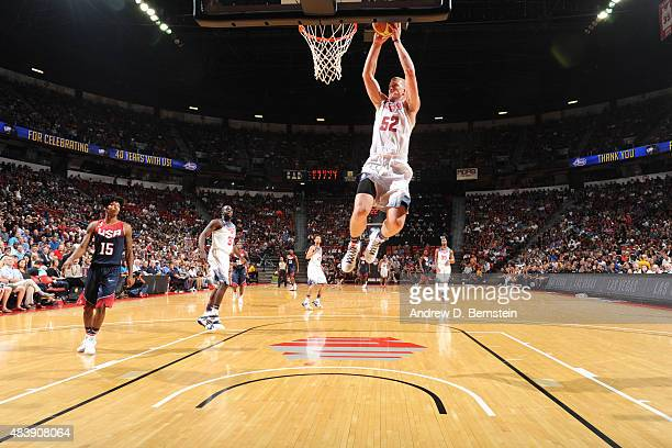 Mason Plumlee of the USA White Team goes up for a dunk against the USA Blue Team during the Team USA Basketball Showcase on August 13 2015 at the...