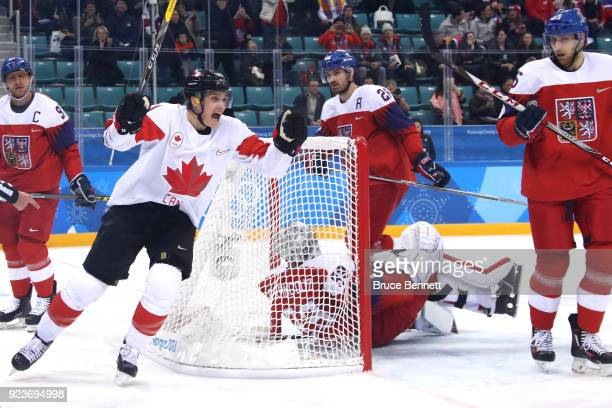 Mason Raymond of Canada celebrates after a goal in the first period by Andrew Ebbett against Czech Republic during the Men's Bronze Medal Game on day...