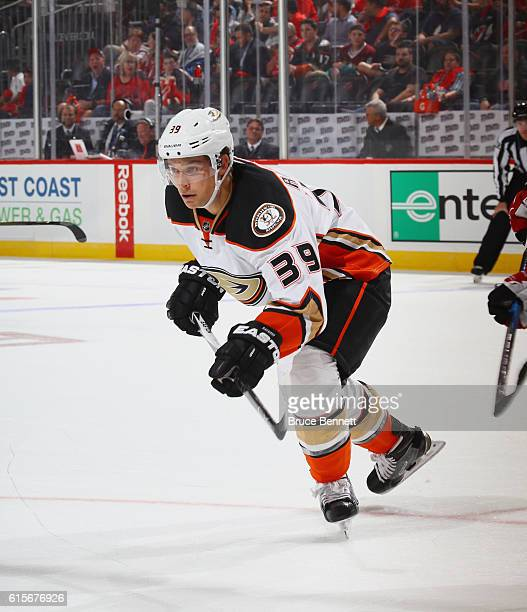 Mason Raymond of the Anaheim Ducks skates against the New Jersey Devils at the Prudential Center on October 18 2016 in Newark New Jersey