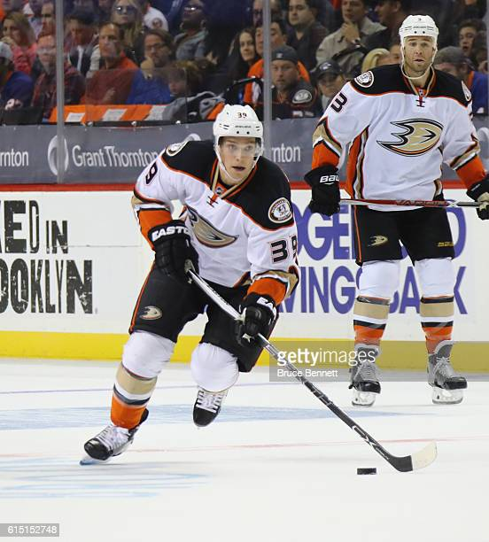 Mason Raymond of the Anaheim Ducks skates against the New York Islanders at the Barclays Center on October 16 2016 in the Brooklyn borough of New...