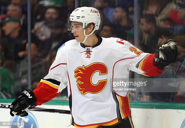 Mason Raymond of the Calgary Flames celebrates a goal against the Dallas Stars in the second period at American Airlines Center on December 17 2015...