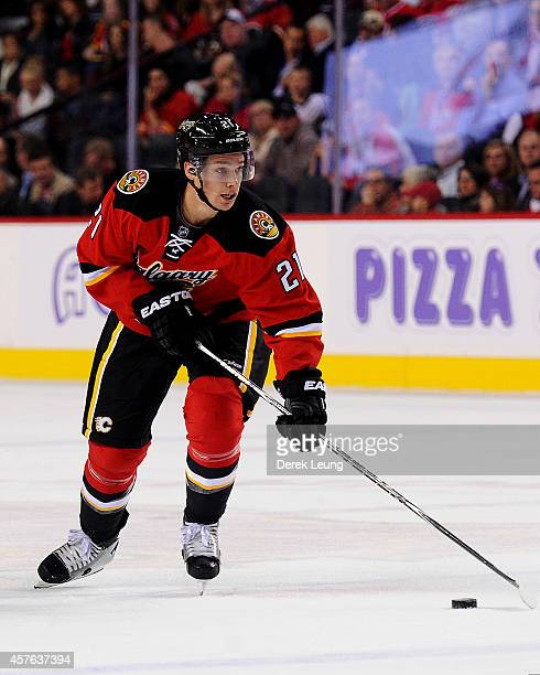 Mason Raymond of the Calgary Flames in action against the Tampa Bay Lightning during an NHL game at Scotiabank Saddledome on October 21 2014 in...
